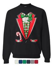 Christmas Tuxedo Crew Neck Sweatshirt Funny Xmas Santa Elf - $13.35+