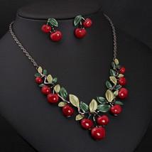 Trendy Women Party Jewelry Set Cherry Leaf Shape Sweet Female Stud Earring Choke - $7.99