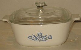 Vtg 1.5 Quart Corning Ware Blue Cornflower Casserole Dish w/Glass Lid P-... - $28.71
