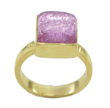 charming Dichroic Glass Gold Plated Multi Ring genuine gemstones US gift - $11.98