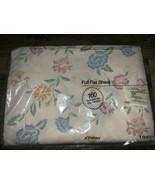 JCPenney ~ NOS Vtg Floral Full Flat Sheet White USA 1980's - $14.30