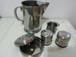 6 Vintage HOTEL Stainless steel Water Pitcher, shakers, pedestal,sugar h... - $25.97