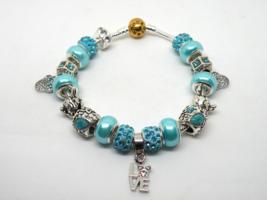 Aqua Blue Disney European Murano Beaded Bracelet. Gift bag included - $19.95