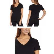 Tommy Hilfiger Women's Short Sleeve V-Neck Tee Shirt Top Knit Black  Sz S/P - $14.64