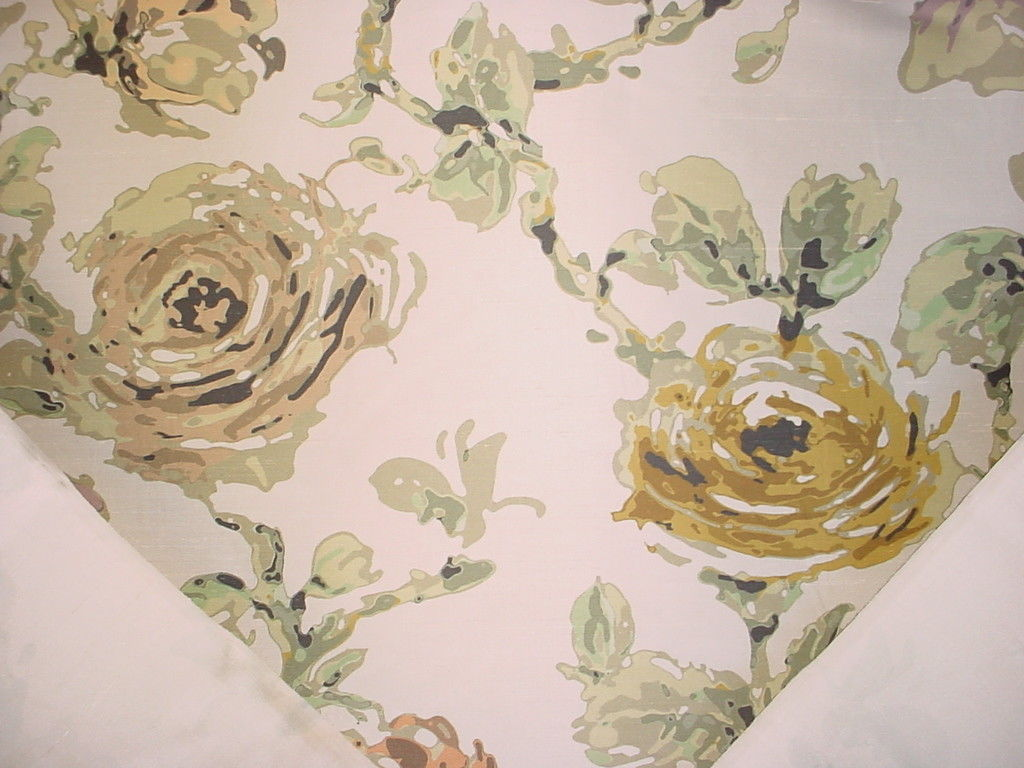 7Y TPSA MINT BLACK OLIVE CONTEMPORARY SILK FLORAL DRAPERY UPHOLSTERY FABRIC