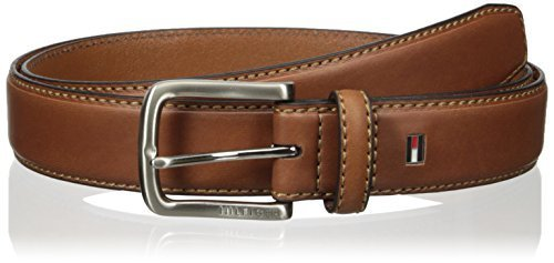 Tommy Hilfiger Men's Casual Belt, brown logo, 40
