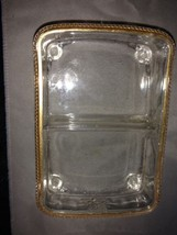 2 card deck glass container with gold rim and butterfly design - $12.50