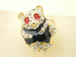 VTG Gold Tone Clear Red Rhinestone Black Enamel Panda Pin Brooch New Old... - $19.80