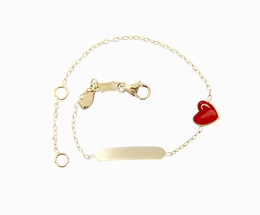 18 KT YELLOW GOLD BRACELET FOR KIDS WITH GLAZED HEART LOVE MADE IN ITALY  5.5 IN