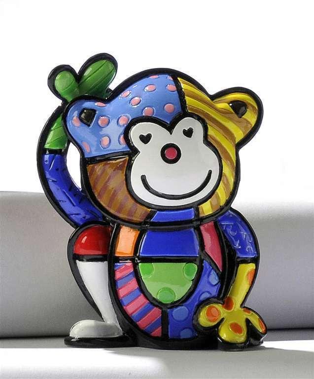 Romero Britto Mini Monkey 3 Dimensional Cheeky Figurine #331384 Collectible