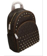 Michael Kors Abbey Medium MK Signature Leather Studded Backpack NWT - $259.00