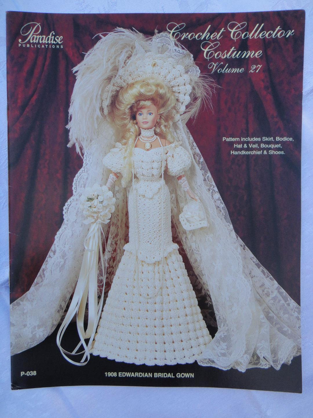 "Primary image for Paradise Crochet 11 1/2"" Doll Costume Pattern 1908 EDWARDIAN BRIDAL GOWN P-038"
