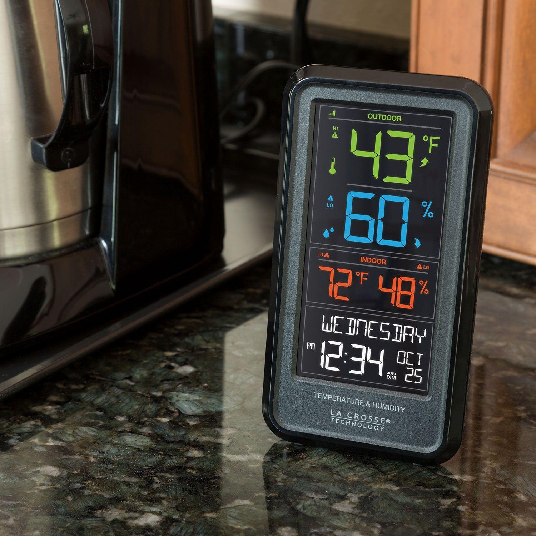 Alarm Clock and Moon Barbella Wireless Weather Forecast Station-Color Display Alarm Clock Temperature Alerts Black Indoor Outdoor Temperature Humidity Remote Sensor Barometer Temperature Alerts