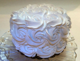 "White Rosette Cake 6""  Fake Wedding Cake- faux unedible Prop Decoration - $26.72"