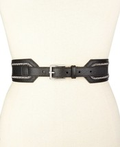 MICHAEL KORS ~Size S-M-L-XL~ Chain-Trim Pebbled Leather Black Belt Women... - $45.99