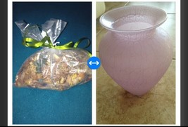 """beautiful lavender crackle design effect glass vase approx 8.5"""" with bag of citr - $49.99"""