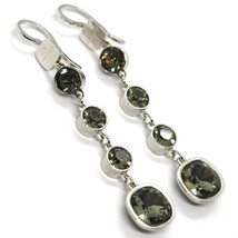 REBECCA BRONZE PENDANT EARRINGS, 67 MM, BIG SQUARE GRAY CRYSTAL, MADE IN ITALY image 1