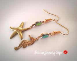 Nautical Earrings Gold Starfish Earrings Gold Seahorse Earrings Rainbow ... - $54.00
