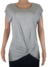 INC Womens Short-Sleeve Round-Neck Twist-Front Top Size L Light Gray NWOT - $13.99