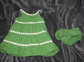 12-18 Months Gymboree A POP OF DAISIES Green Woven Dress & Diaper Cover ... - $12.22