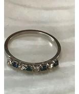 Estate Dainty Cookie Lee Alternating Blue & White Rhinestone Thin Silver... - $9.49