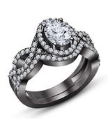 Oval Cut Diamond Womens Wedding Bridal Ring Set 14k Black Gold Finish 92... - $78.39