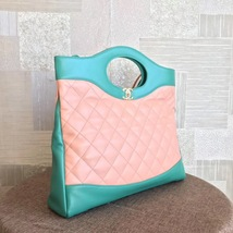 NEW AUTH CHANEL 2019 RUNWAY QUILTED LAMBSKIN 2-WAY SHOPPING BAG PINK TURQUOISE  image 3