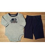 Boy's Size 3 M 0-3 Months Two Piece Carter's Gray Elephant L/S Top & Blu... - $17.50