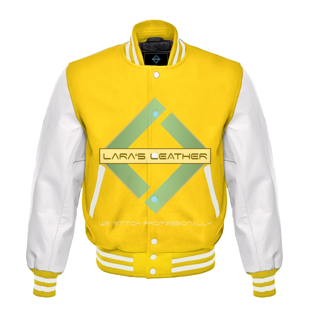 Primary image for American Unisex White Real Leather Sleeves Letterman College Varsity Wool Jacket