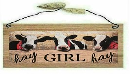 Primitive Farmhouse Picture Cows Hay Girl Country Farm Wall Hanging Sign... - $7.99