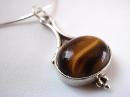 Dainty Slim Tigers Eye 925 Silver Pendant India New - $13.85