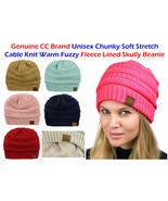 CC Beanie Women's  FLEECE LINED Chunky Soft Stretch Cable Knit Warm Fuzz... - $10.84+