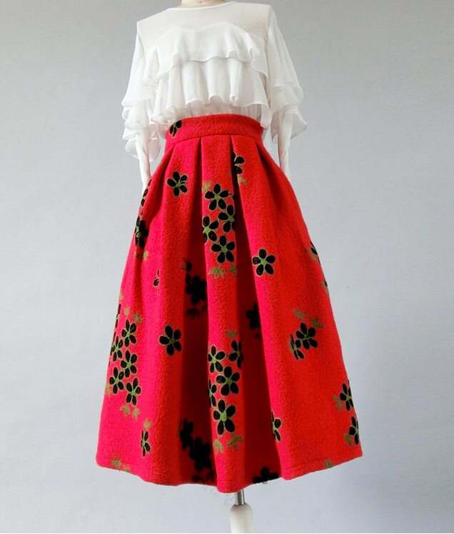 RED Flower Winter Long Pleated Skirt Warm Woolen Pleated Skirt Christmas Outfit
