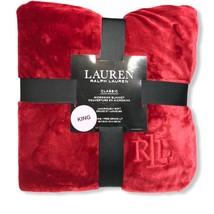 """Lauren Ralph Lauren Classic Micromink Plush King 108"""" X 90"""" Blanket Red - $119.99"""