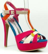 Fuchsia Pink Orange Teal Colorblock Faux Suede High Heel T-Strap Platform Sandal - $9.99