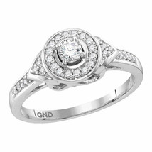 10kt White Gold Round Diamond Solitaire Bridal Wedding Engagement Ring 1... - £453.40 GBP