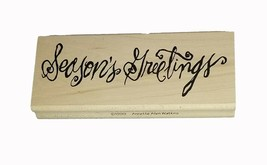 Print Works Season's Greetings Wood Mounted Rubber Stamp image 1
