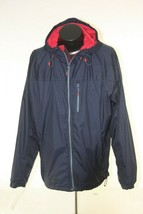 LL Bean Rain Jacket Windbreaker Mens Large Full Zip  Hooded Blue - $22.72
