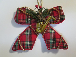 Red Tartan Plaid Fabric Bow Christmas Tree Ornament Beaded Accents & Sax... - $5.00