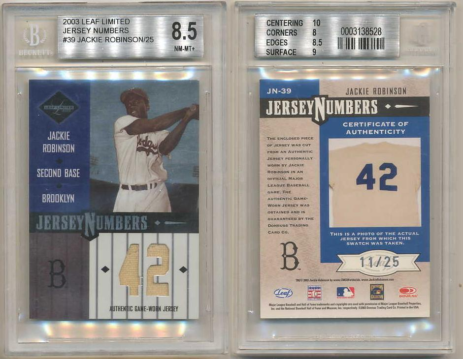 Primary image for 2003 LEAF LIMITED JERSEY NUMBERS JACKIE ROBINSON GU JSY #D/25 BGS 8.5 9 10 #39