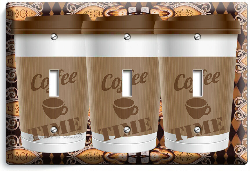 COFFEE TIME PAPER CUP LIGHT SWITCH OUTLET PLATE ROOM KITCHEN CAFE SHOP ART DECOR image 10
