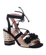 Poetic Licence Women's Entwined Ghillie Lace-Up Block Heel Sandals Black - $125.00