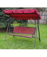 Bench With Canopy Porch Swing Stand Patio Furniture Fabric 3 Seat Hammoc... - $177.52