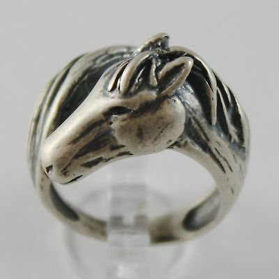 Silver Ring 925 Burnished with Head and Tail of Horse Made in Italy