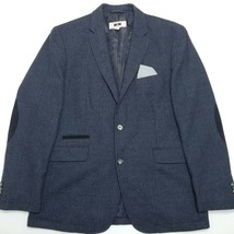Joseph Abbound Sport Coat Blazer, Men's Medium, Windowpane Navy Blue Elb... - $44.55