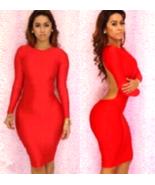 Women Backless Long Sleeve Bodycon Knee Length Fitted Shoulder Dress Par... - $7.50