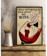 Easily Distracted By Yoga Music And Wine, Art Prints Poster Home Decorat... - $25.59+