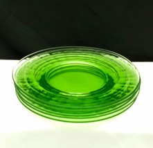 "Lot of 5 Vintage Green Depression Uranium Glass Block Optic 8"" Plates - $19.95"
