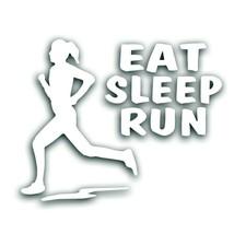 EAT SLEEP RUN girl woman decal for marathon runner, jogging bumper stick... - $8.83