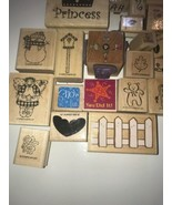 Rubber Stamp on Wood Block Lot of 45 Stamps Stampin up Hero Arts Vintage... - $46.74